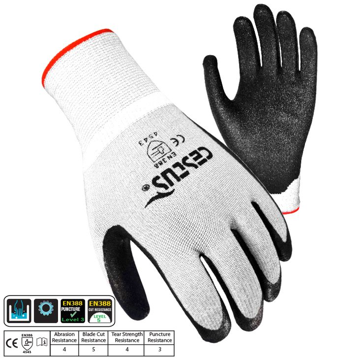 TC5: Made from a combination of Wooltran material and Micro-finished Nitrile coating that gives you a non-slip grip palm and a Cut Resistance Level 5. Oil resistant palm.