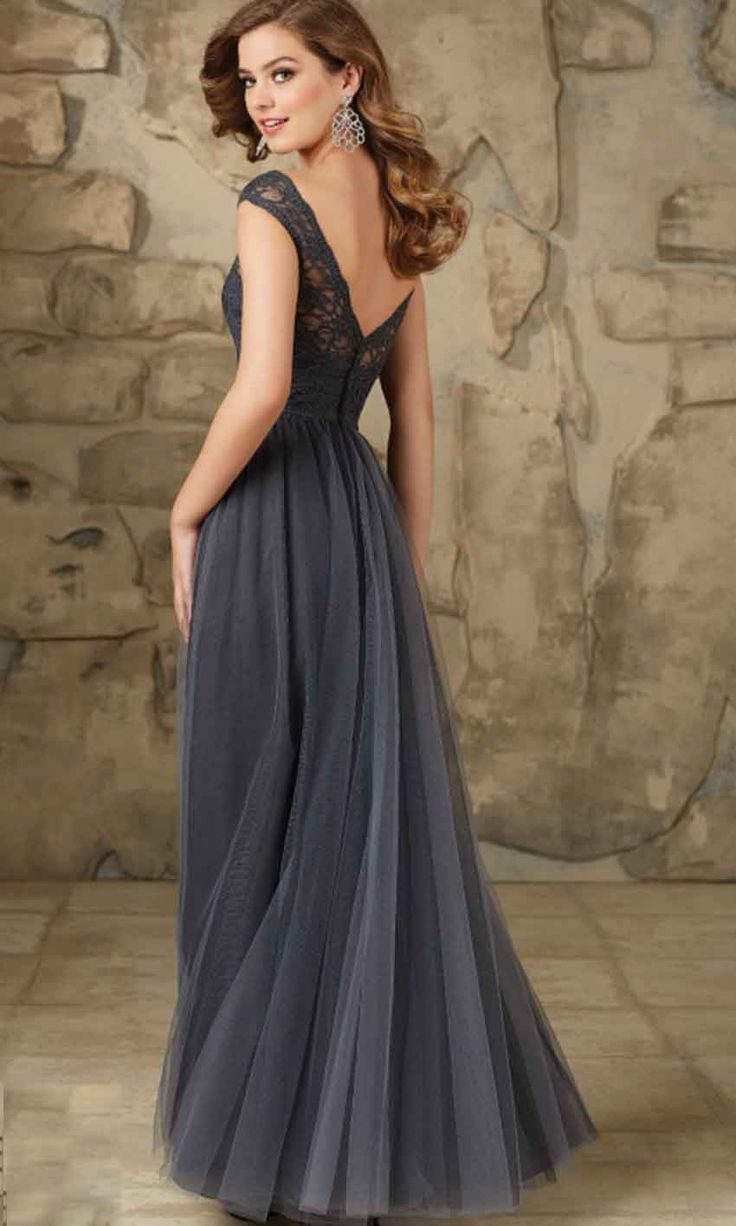 Dark Gray Long Lace Bridesmaid Dresses UK KSP401                                                                                                                                                                                 More