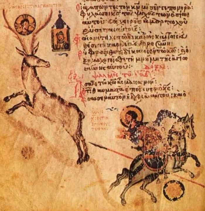 Saint's vision of the image of Christ between the antlers. Psalm-96, Chludov Psalter, Byzantine, 9th century, Moscow, Historical Museum MS 129