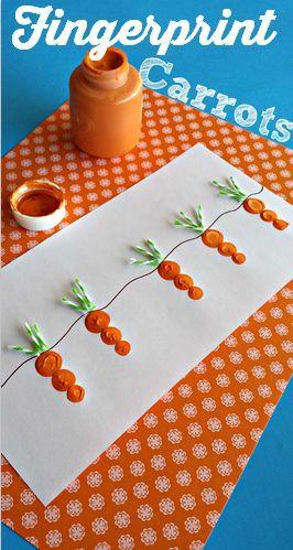 Desenho de cenoura feito com ponta dos dedos