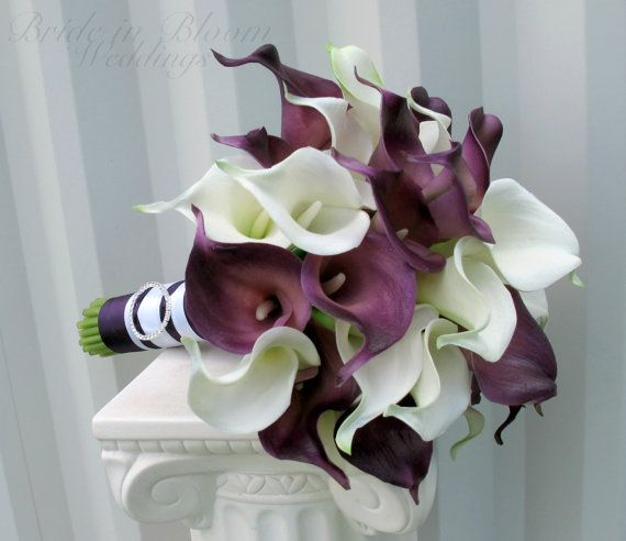 Calla lily Wedding bouquet Bridal bouquet Real touch calla lilies white plum purple on Etsy, $160.00