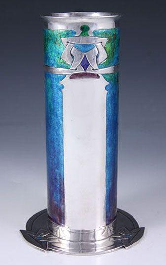 Liberty & Co. Archibald Knox Cymric Silver & Enamel Vase Arts & Crafts
