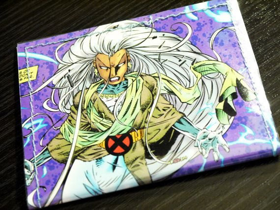 Xmen Storm Comic Book Upcycled Vinyl Wallet This is a ready to ship item.  Two pockets, simple Vinyl Wallet with your favorite characters.  Contact the artist for with product questions or custom