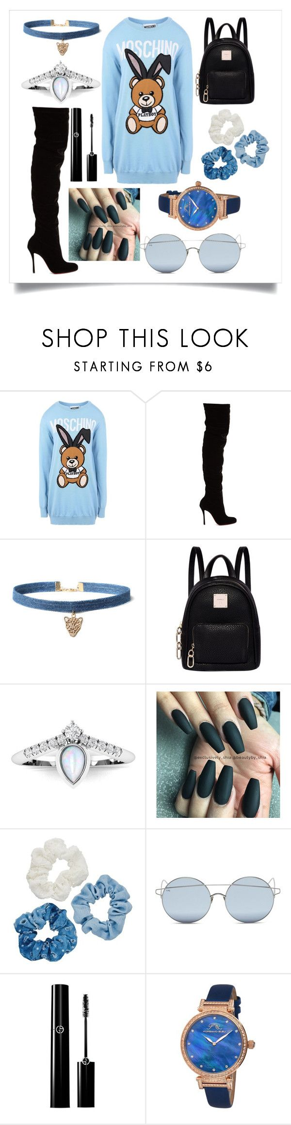 """Untitled #1314"" by fashionqueen886 ❤ liked on Polyvore featuring Moschino, Christian Louboutin, WithChic, Fiorelli, Mudd, For Art's Sake and Porsamo Bleu"