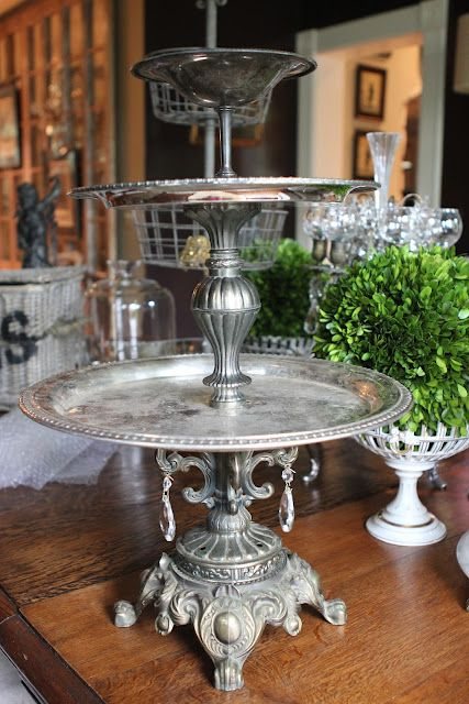 Romancing the Home three tier server made from lamp base and silver trays?