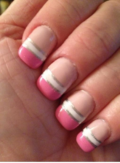pink and white | Funky French Tip Nails | Pinterest | White nails, White nail designs and Nail nail