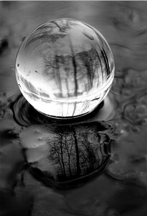 crystal ball in puddle