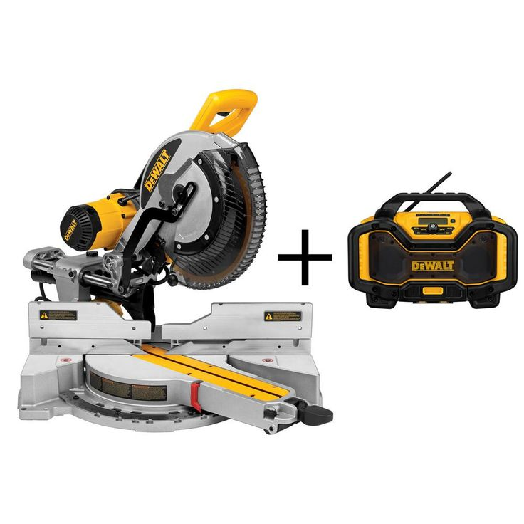 DEWALT 15-Amp 12 in. Double Bevel Sliding Compound Miter Saw with Bonus Bluetooth Radio Charger