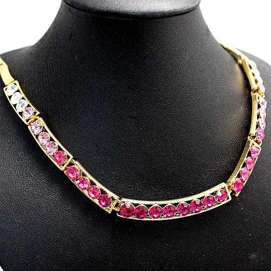 Narodeninové darčeky ples Crystal zlatenie Chain-like náušnice náhrdelník Set NS2306A