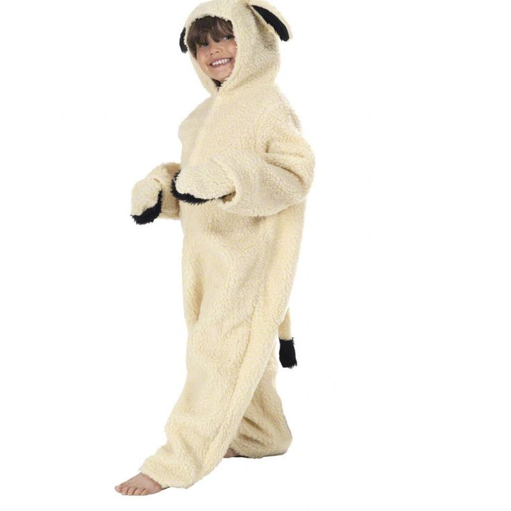 Made from soft woolly fur this Lamb or Sheep fancy dress costume is ideal for nativity and farmyard school play it has a tail mittens and hood