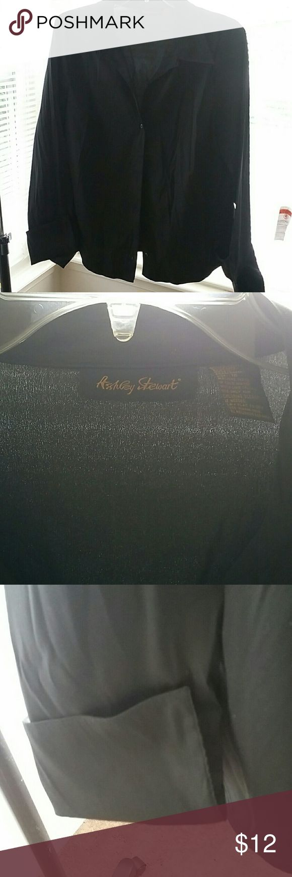 Gently worn Ashley Stewart work blouse. It's black with a very nice lapel and cuffs which can be worn with or without cufflinks (I rocked cufflinks :) Ashley Stewart Tops Button Down Shirts