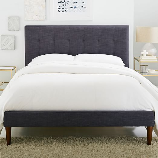 grid tufted upholstered tapered leg bed west elm