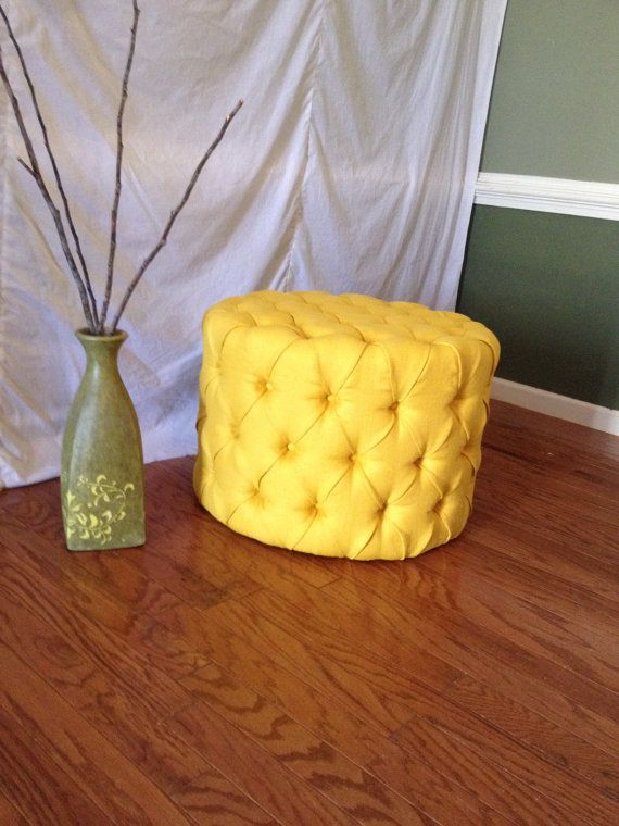 REDUCED Tufted Ottoman Upholstered Ottoman Round by NewAgainUph