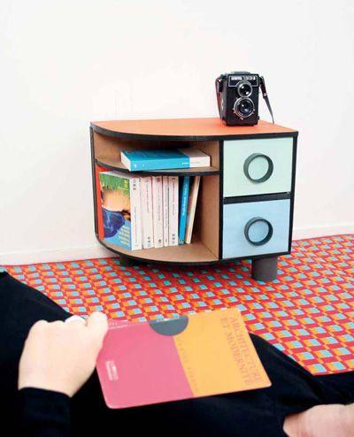Table de chevet rétro en carton, Tuto cartonnage - Loisirs créatifs