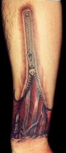 Tattoos and Paintings by Matthew Amey - Independent Tattoo - Selbyville, DE: Open Skin Zipper Tattoo