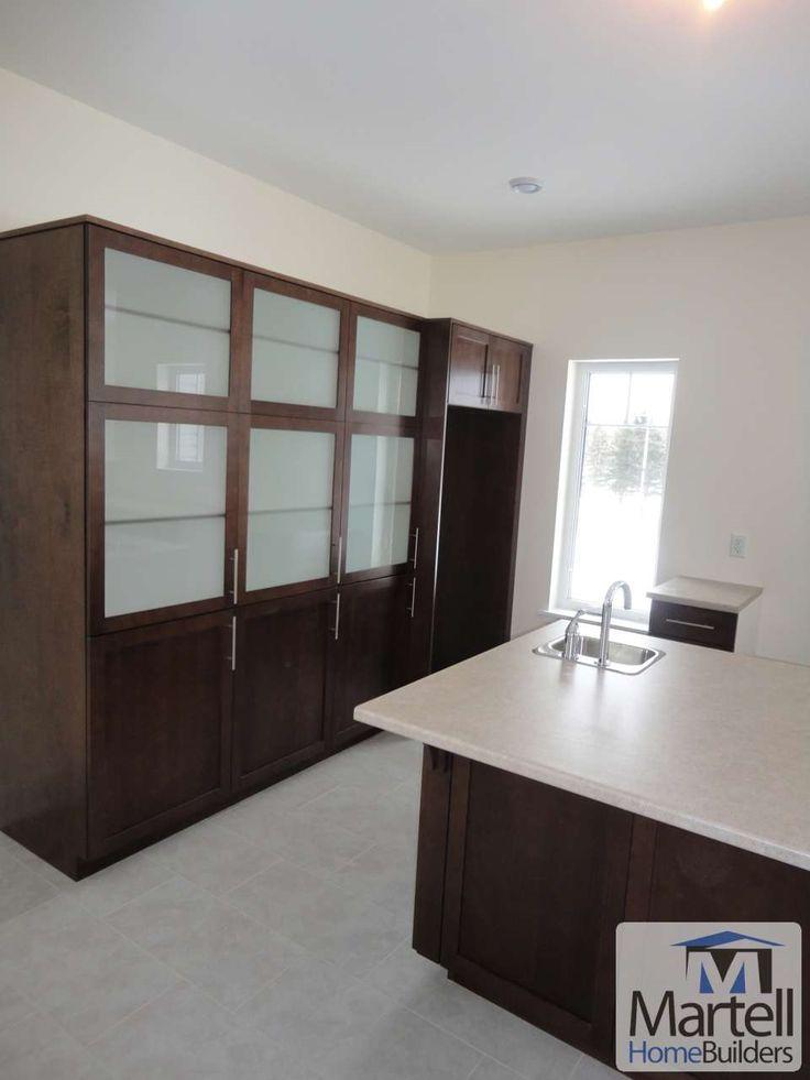 Dark wood kitchen cabinet
