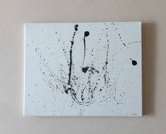 Tableau moderne abstract 1 blanc noir 50x40 tableau for Tableau moderne geometrique