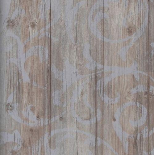 Vlies-Tapete-Antik-Holz-rustikal-Ornament-Muster-Barock-braun-grau