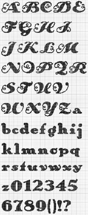 Curly Alphabet #monogram  #blackwork #cross-stitch ??