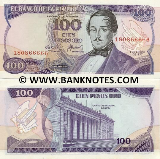 colombia currency | Colombia 100 Pesos Oro 1977 - Colombian Currency Bank Notes, Paper ...