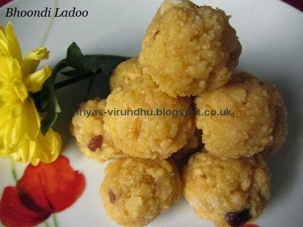 Bhoondi Ladoo/Boondi Ladoo http://priyas-virundhu.blogspot.co.uk/2013/10/bhoondi-ladooboondhi-ladoo-diwali.html