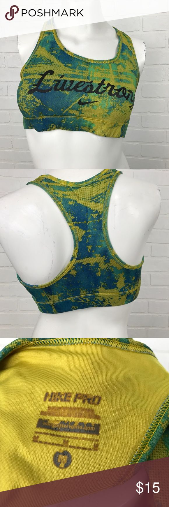 NIKE Pro Livestrong Workout Athletic Bra Static BRAND                    :Nike Pro					 SIZE	                 :Women's Medium STYLE	                 :Athletic Bra COLOR	                 :Yellow - Green - Blue MATERIAL              :Material tag cut off		 Condition               :Gently worn - Inside Screenprint faded	 Inventory                :MQ115 B5 Nike Pro Swim
