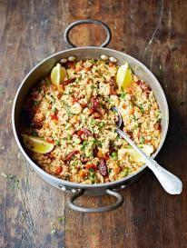 Jamie Oliver.. http://www.jamieoliver.com/recipes/rice-recipes/chicken-chorizo-paella