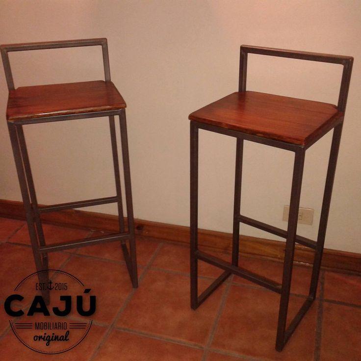 Banquetas altas en hierro y madera de caj mobiliario for Banquetas de madera