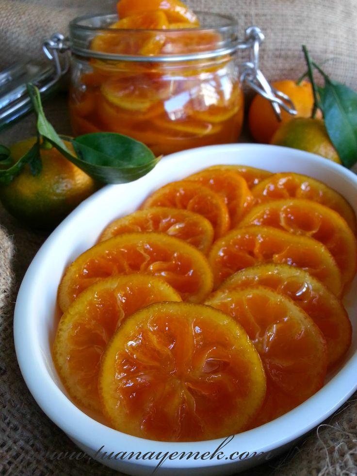Malzemeler:  - 10 adet mandalina ( ince kabuklu,sert,sulu,küçük boy )  - 2 buçuk su bardağı toz şeke...