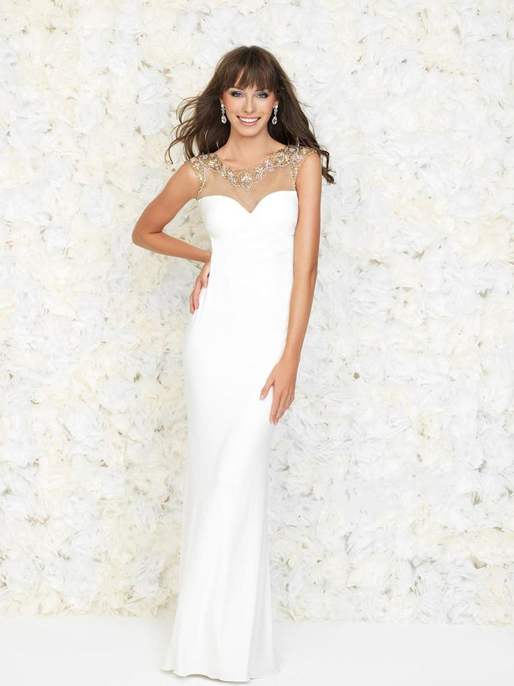 Sexy White Prom Dresses 2015 Backless Scoop Sheer Neck Sheath Sequined Shining Crystals Beaded Chiffon Cap Sleeve Special Occasion Dresses, $149.85   DHgate.com