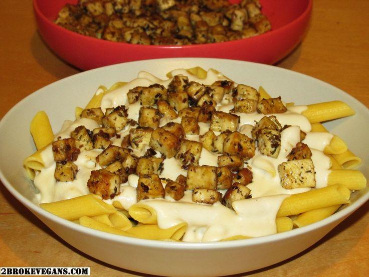 Gluten Free Vegan Chicken Alfredo Pasta for full recipe: http://2brokevegans.com/vegan-chicken-alfredo-pasta/