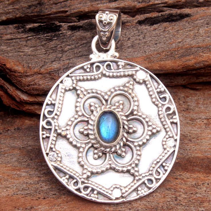 Vintage Sterling Silver Flashy Blue Green Labradorite Bali Design Pendant 2.25  labradorite Jewelry  Labradorite Pendant  Gifts for her