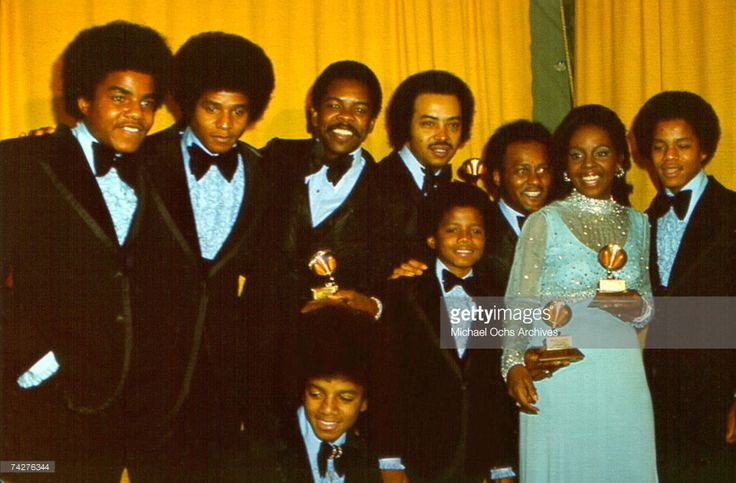 R&B quintet 'Jackson 5' pose backstage with Grammy winners Gladys Knight & The Pips at the 15th annual Grammy Awards which were held in February 1973 in Nashville, Tennessee. Tito Jackson, Jackie Jackson, Michael Jackson, Randy Jackson, Marlon Jackson.