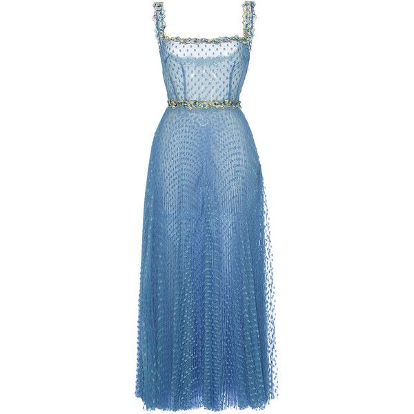 Luisa Beccaria     Tulle Pois Plisse Midi Ballerina Dress ($4,095) ❤ liked on Polyvore featuring dresses, luisa beccaria, maxi dress, blue, ruched maxi dress, calf length dresses, blue pleated dress, blue tulle dress and ballet dress