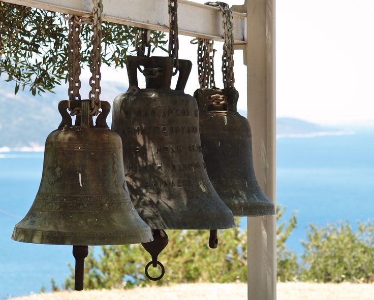 Wonderful church bells, so nice to see them instead of being hidden in a tower #kefalonia the views from up here are outstanding, in all directions to the west Sami and Karavados, to the North West Agia Efimia, to the north Ithaca and Lefkada and to the east the Greek mainland is visible on a clear day. Dolphin spotting is possible from up here too