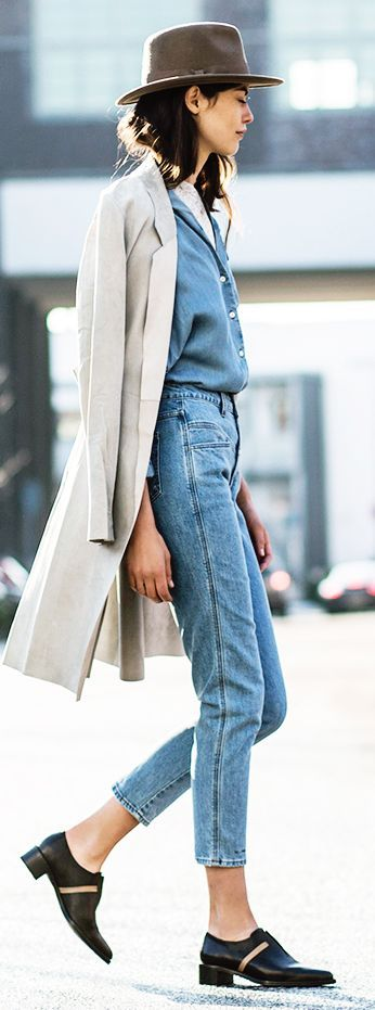Denim On Denim With Brimmed Hat                                                                             Source