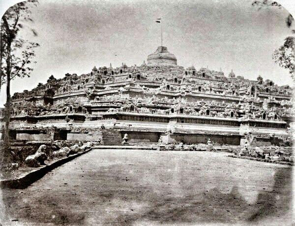 Borobudur Temple with Dutch's flag 1873.