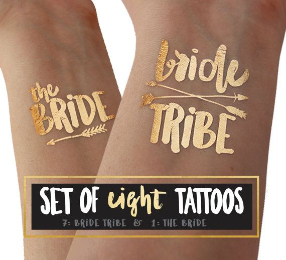 BRIDE TRIBE tattoos for the perfect bachelorette party favor idea. Top ten list of things to buy for the bride if you are planning a bach party.  Find your tribe and love them hard. Metallic gold flash tattoos by thetattooboutique
