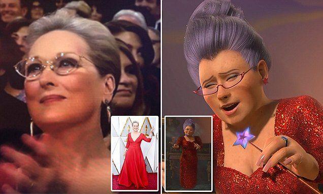 Meryl Streep S Oscars Looks Just Like The Fairy Godmother In Shrek