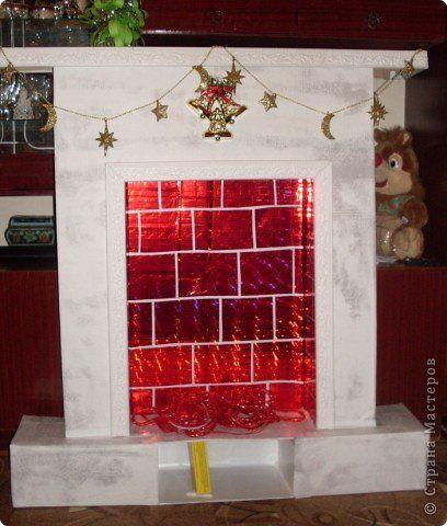 Поделка изделие Новый год Бумагопластика Камин своими руками Картон