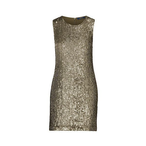 Polo Ralph Lauren Sequined Sleeveless Dress ($598) ❤ liked on Polyvore featuring dresses, sequin shift dress, brown sequin dress, glamorous dresses, sequined dresses and round neck dress