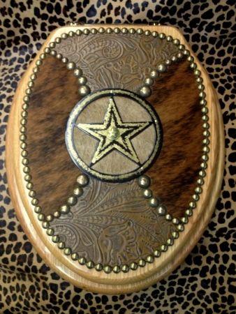 CUSTOM Ranch Brand Western Embossed Leather Cowhide Toilet Seat