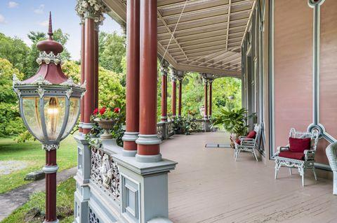 Porch of The Armour-Stiner Octagon House, Irvington-On-Hudson, New York