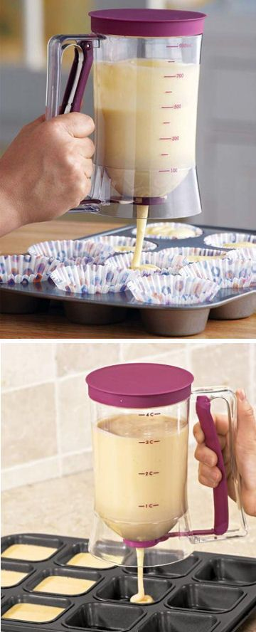 Cake Batter Dispenser with Measuring Label ♥ {Great for Pancakes & Muffins too}
