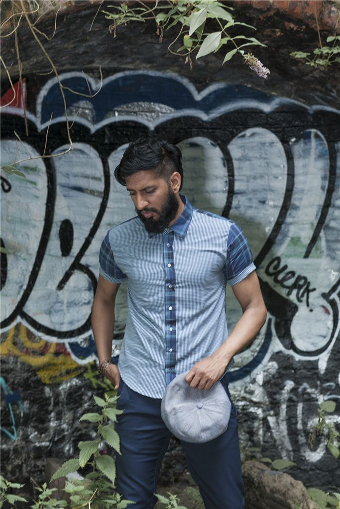 Double Faced Blue Check Organic Cotton Shirt