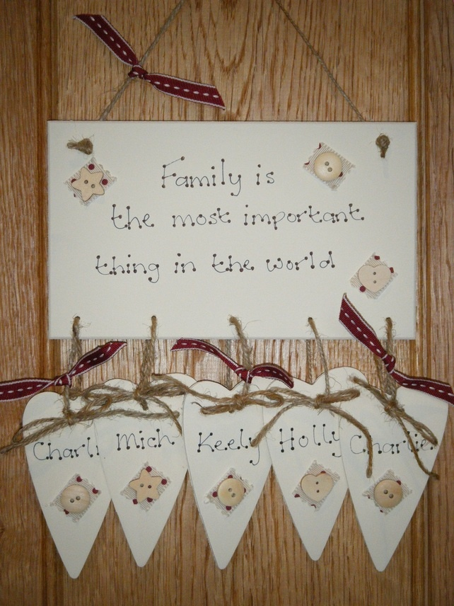 Personalised Family Shabby Chic Wooden Plaque Sign Gift Keepsake - Free P