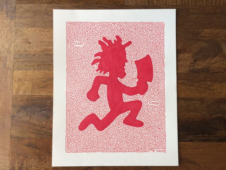 ICP Juggalo Red Hatchetman Maze Drawing Sharpie Art 8x10 by MazeMonster on Etsy