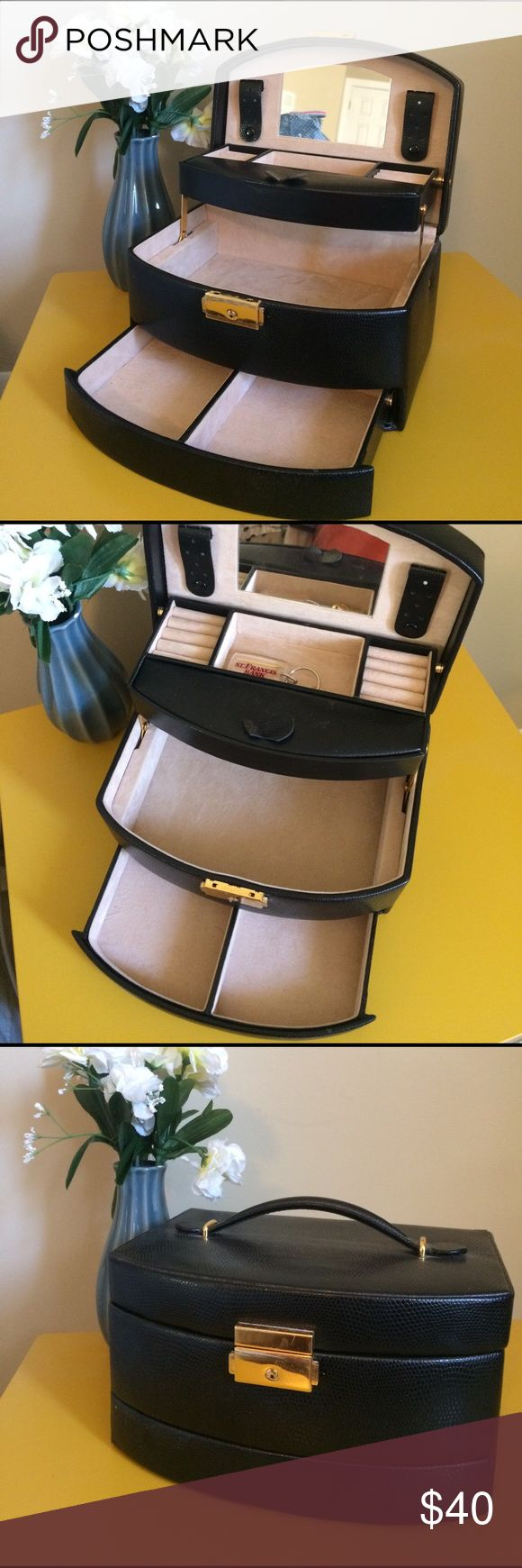 Locking jewelry box Black three tiered jewelry box. Comes with key! Holds a lot! Great condition! Jewelry