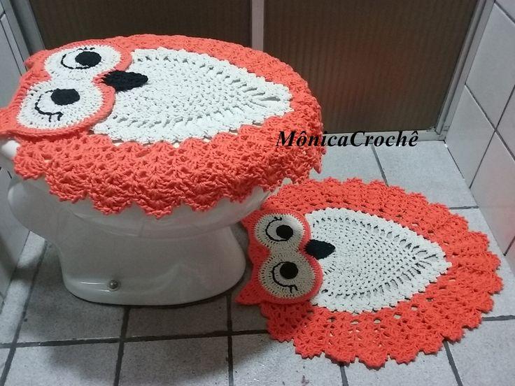 Jogo de banheiro de corujas  Três peças  Pode ser feito em todas as cores  Feito com Barbante barroco maxcolor