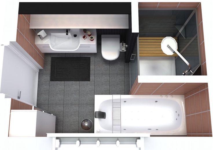 agencement salle de bain de 6 mètres carrés avec baignoire et cabine de douche moderne